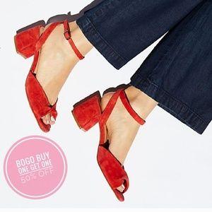 Free People - Red Suede Gisele Block Heel